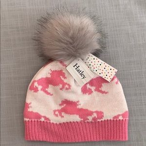 Toddler pink horse pom winter hat by Hatley.
